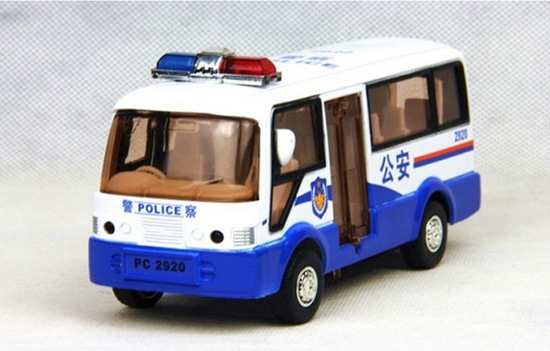 1:50 Scale Kids Pull-back Function White-Blue Police Bus Toy