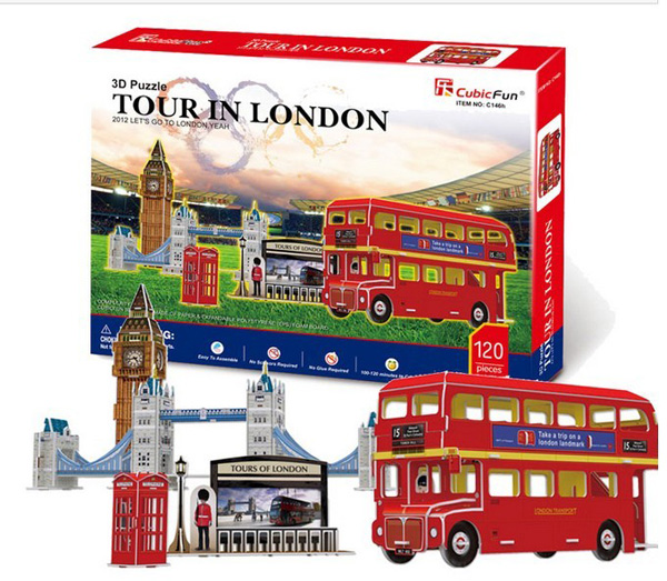 Red EPS Paper Made Kids Educational London Double-deck Bus Toy