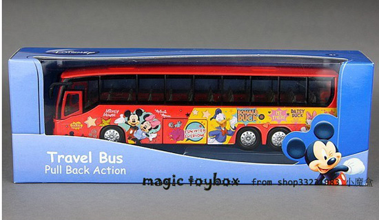 Kids Red Mickey Mouse And Donacdduck Theme Tour Bus Toy