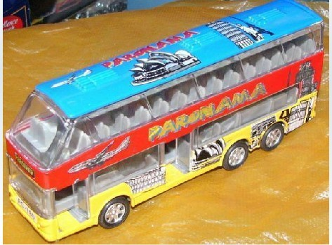 Kids Blue-Red-Yellow Graffiti Elements Double-deck Bus Toy