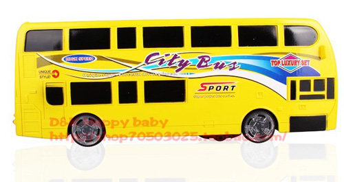 Kids Bright Yellow Electric Double-Deck City Bus Toy