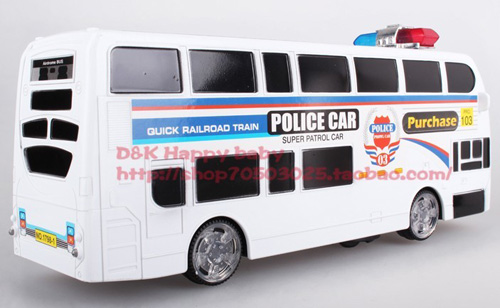 Kids White Police Theme Electric Double-deck Bus Toy
