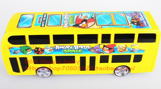 Kids Yellow Angry Birds Theme Electric Double-Deck Bus Toy