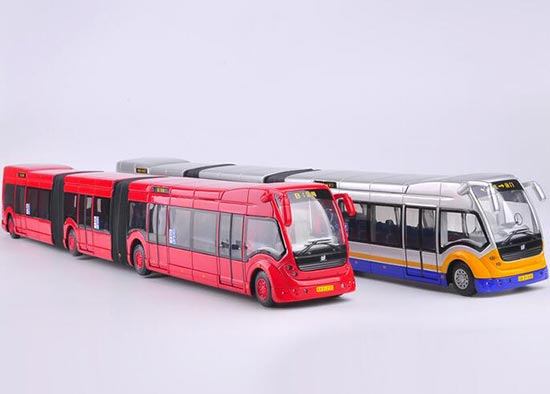 1:50 Scale Red / Silver Three Carriages Super Cruiser Bus Model