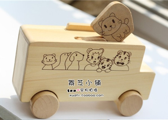 Medium Size White Animal Figures Wooden Bus Toy