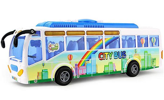 Long Scale Blue Kids Colorful Electric City Bus Toy