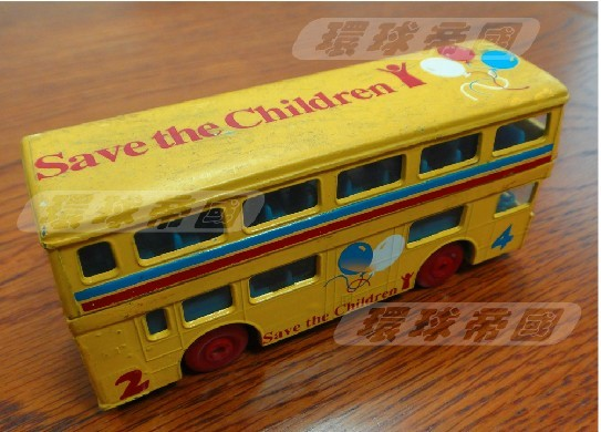 Mini Scale Yellow Matchbox Brand Kids Double-Decker Bus Toy