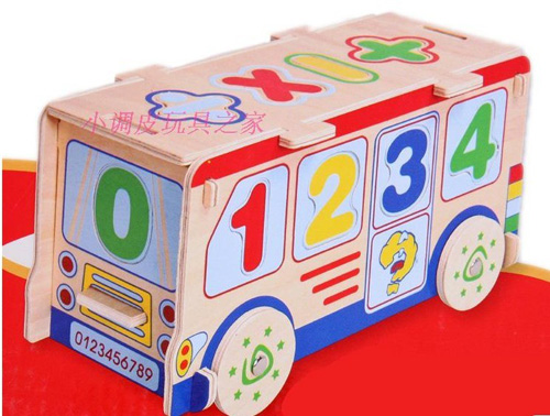 Kids Wooden Digital Big Educational Bus Toy