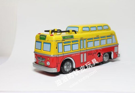 Yellow-Red Tinplate Clockwork Spring Function Bus Model