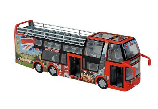 Large Scale Yellow / Red Plastics Cabrio Double-decker Tour Bus