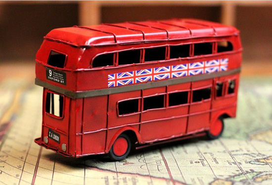 Small Scale Red Tinplate NO.9 London Double-decker Bus Model