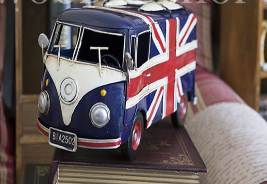 British Style Blue Tinplate Made Vintage VW Bus Model