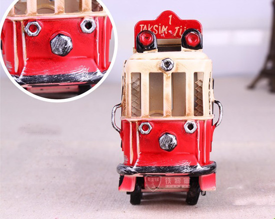 Small Scale Red-White Tinplate Vintage British Style Trolley Bus