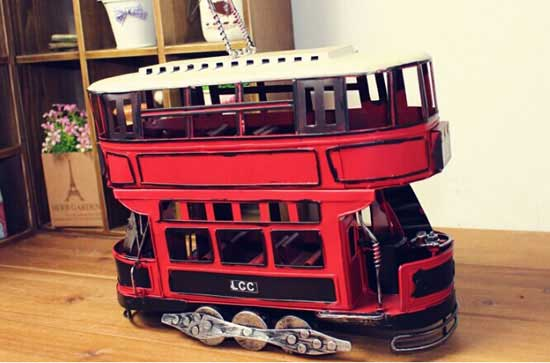 Medium Scale Red Tinplate British Style Trolley Bus Model