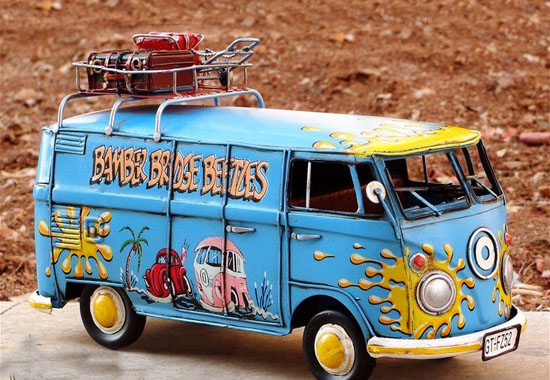 Blue Medium Scale Tinplate 1967 VW Hippie Bus Model