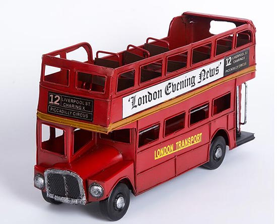Medium Scale Red Open Top 1905 London Evening News Bus Model