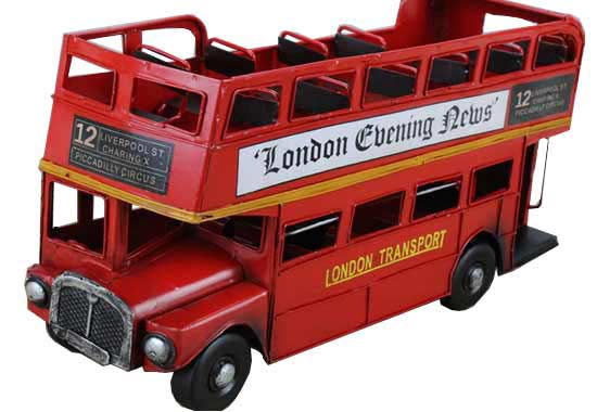 1:12 Scale Red Open Top Style 1905 London Evening News Bus Model