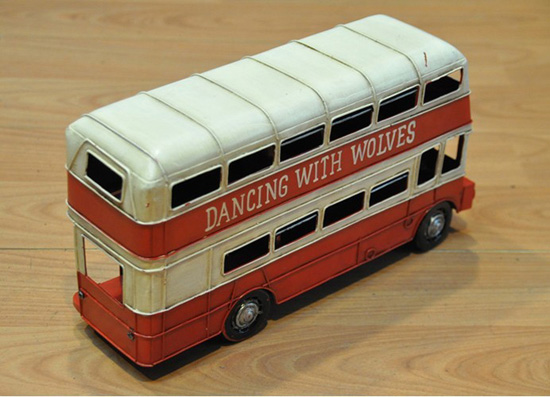 Tinplate Medium Scale Red-White London Double-deck Bus Model