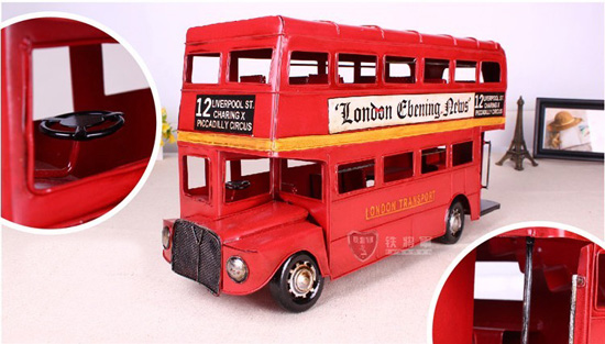 Large Scale Red Tinplate 1905 London Evening News Bus Model