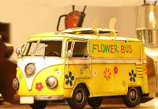 Medium Scale Yellow Tinplate 1962 VW Flower Bus Model