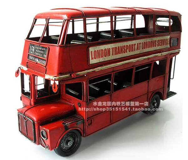 Tinplate Large Scale Red NO. 159 London Double-decker Bus Model