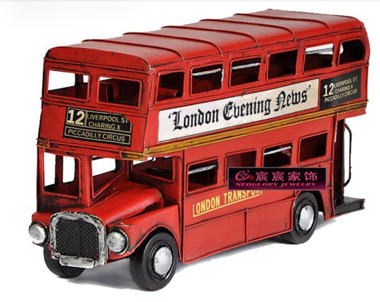 Small Scale Tinplate Red NO. 12 London Double-decker Bus Model