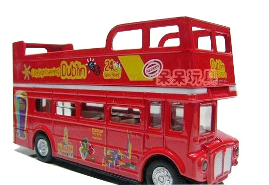 Pull-Back Kids Red Dublin City Sightseeing Double-decker Bus Toy