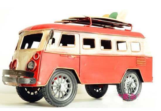 Medium Scale Red-White Tinplate 1962 VW Sliding Plate Bus Model