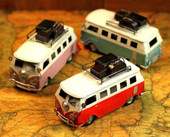 Small Scale Tinplate Red / Pink / Green Vintage Style Bus Model