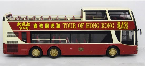 1:76 Scale Cabrio Style Hong Kong Tour Double-Deck Bus Model