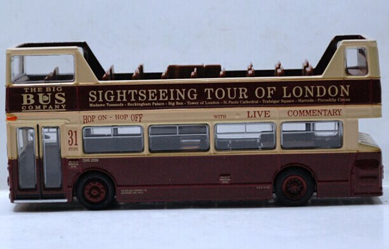 1:76 Scale Cabrio Style London Tour Double-Deck Bus Model