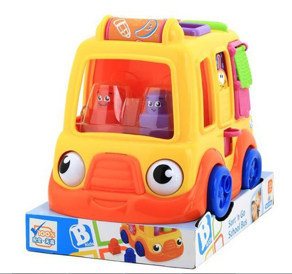 Kids Colorful Plastics Made Cartoon Design Educational Happy Bus