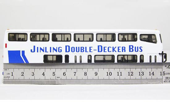 1:76 Scale White / Red / Blue Nanjing Double-Decker Bus Model