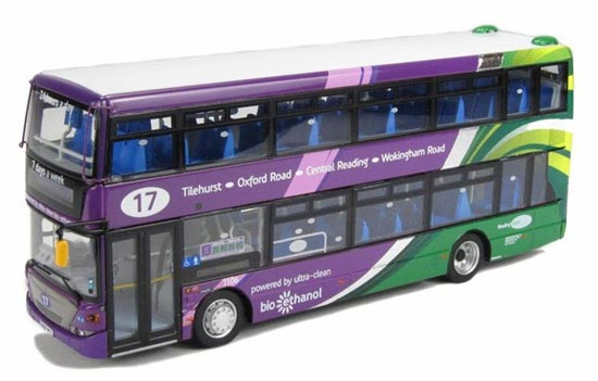 1:76 Scale Purple CMNL Scania NO. 17 Double-Decker Bus Model