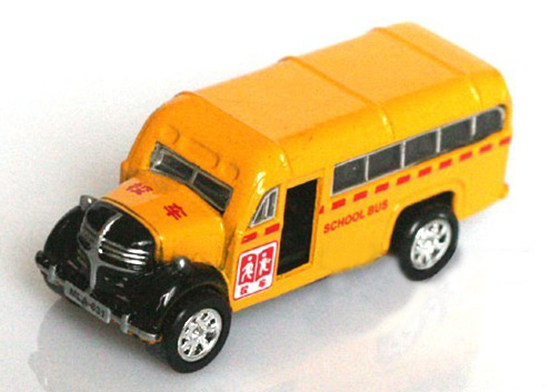 Kids Mini Scale Bright Yellow School Bus Toy