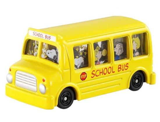 Mini Scale Yellow NO. 154 Snoopy Theme School Bus Toy