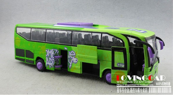 Kids 1:50 Scale Green Five Opening Doors Tour Bus Toy