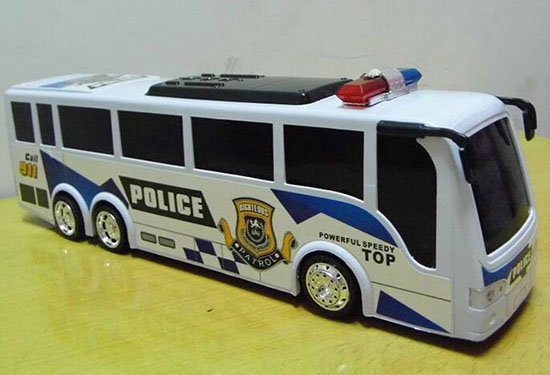 Kids Large Scale White Police Theme Bus Toy
