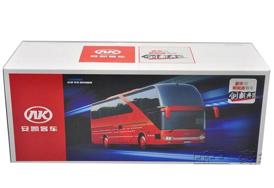 1:42 Scale Chinese Red AnKai Tour Bus Model