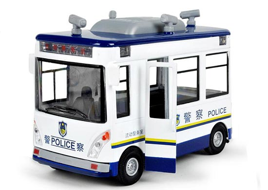 Pull-back Function Kid White-Blue Floating Police Office Bus Toy