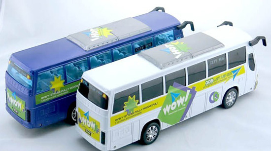 Large Scale Kids Blue / White Engineering Plastics Made Tour Bus