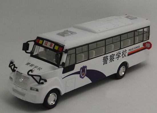 Kids White Pull-Back Function Police School Bus Toy