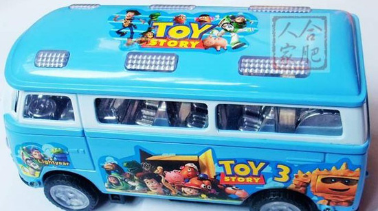Kids Large Scale Cartoon Figures Plastics Electric Bus Toy
