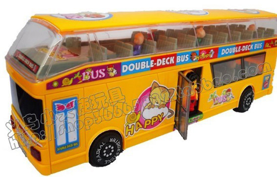 Kids Large Scale Yellow / Pink Electric Double-decker Bus Toy