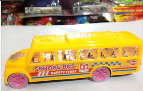 Kids Large Scale Yellow / Red / Blue Electric School Bus Toy