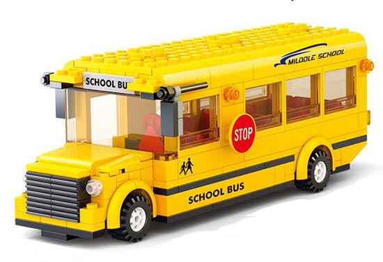 246 Pieces Kids Yellow Building Blocks U.S. School Bus Toy