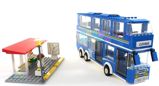 Kids 338 Pieces Blue Building Blocks Double-Decker Bus Toy