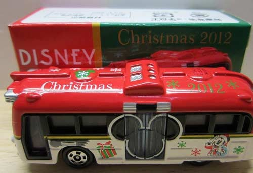 Mini Scale Red-White TOMY Christmas City Bus Toy