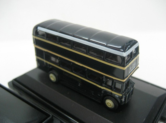 Mini Scale Black Oxford British Double-decker Bus Model