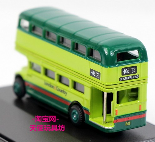 Mini Scale Blue-Green Oxford British Double-decker Bus Model